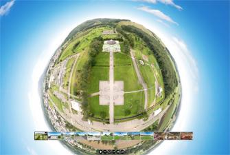 VR技術を使用したドローン空撮映像の作例