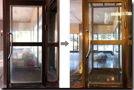 温泉の清掃サービスも提供。ガラスも新品のように