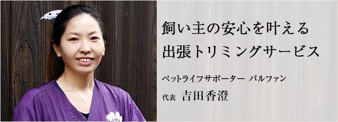 飼い主の安心を叶える 出張トリミングサービス ペットライフサポーター パルファン 代表 吉田香澄