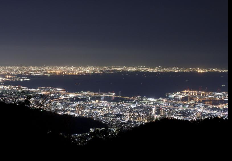 1000万ドルの夜景を一望できる、六甲山上