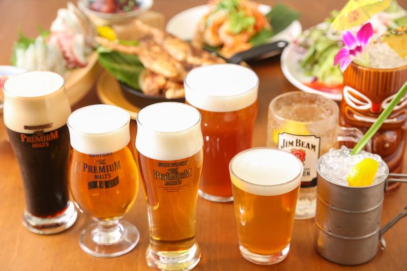 ハワイや湘南の地ビールも楽しめる充実のビアメニュー